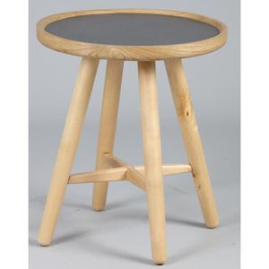 TABLE D'APPOINT Guéridon rond en bois coloris naturel et anthracit