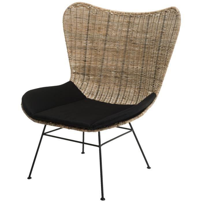 Fauteuil Madison - Rotin naturel - Coussin noir - Pieds métal - L 86 x P 76 cm