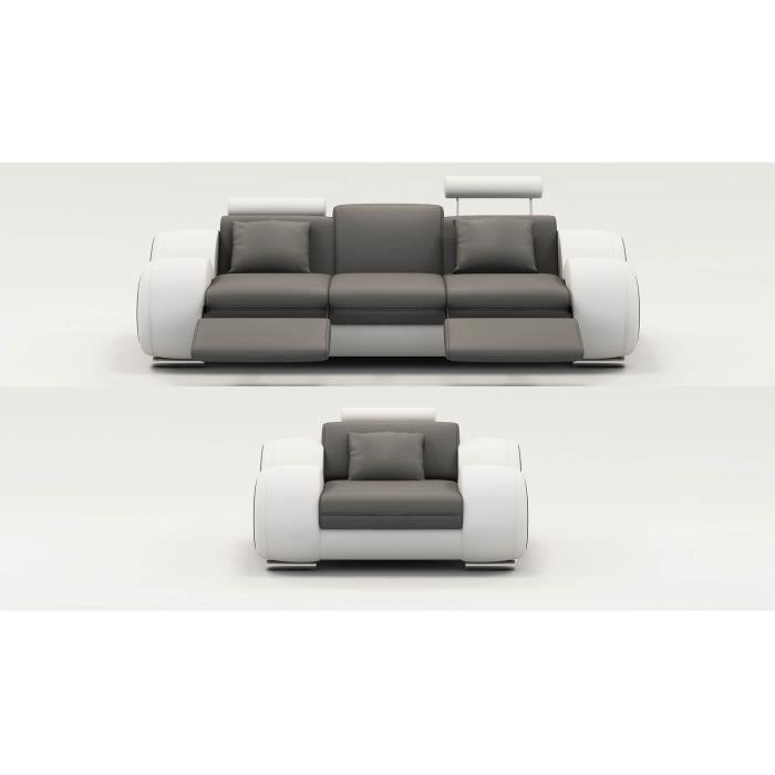 Ensemble cuir relax 3+1 places gris et blanc OSLO