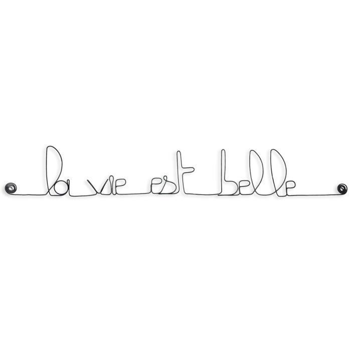 Décoration murale en fil de fer - Message simple - La vie est belle -