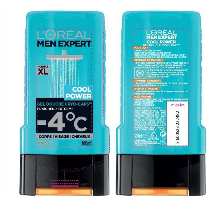 L'Oréal Men Expert Cool Power Fraicheur Extrême Gel Douche pour Homme 300 ml - Lot de 3 42726