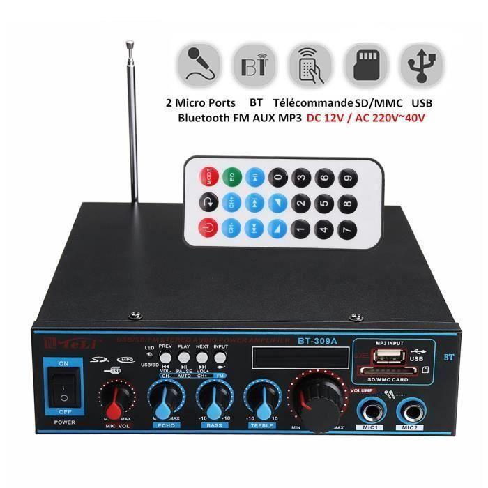 Bluetooth Amplificateur Hi-Fi Stéréo 12V-220V FM USB SD MP3 Audio Lecteur - Ampli Maison Voiture Auto 400W+400W SA68333