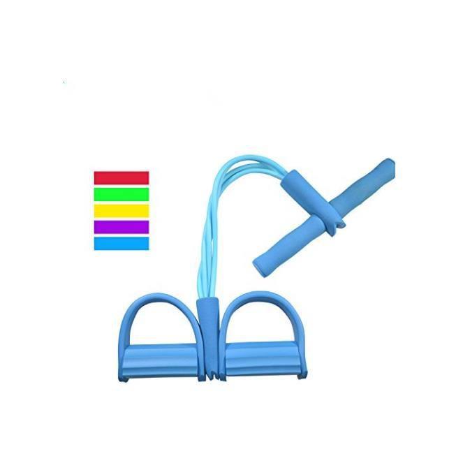 Bande de résistance élastique multifonctions avec poignées pour jambes et abdominaux Bleu