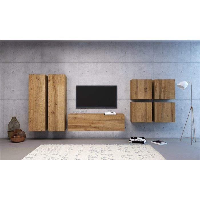 VIVIO - Ensemble meubles TV à suspendre + LED - 7 pcs - Mur TV avec rangements - Unité murale style moderne - Aspect bois - Chêne