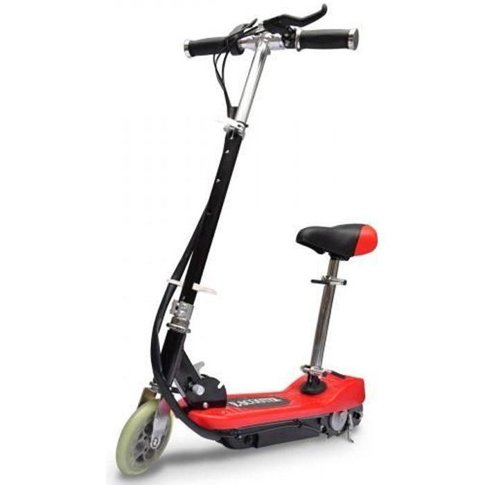 VidaXL - Trottinette enfant électrique, rouge et noire, 120W, avec selle