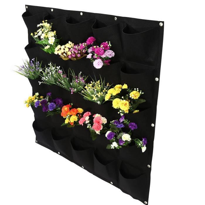 Sac de plantation vertical de jardin extérieur de 25 poches à suspendre au mur contenant de culture de fleurs (noir)-GOL