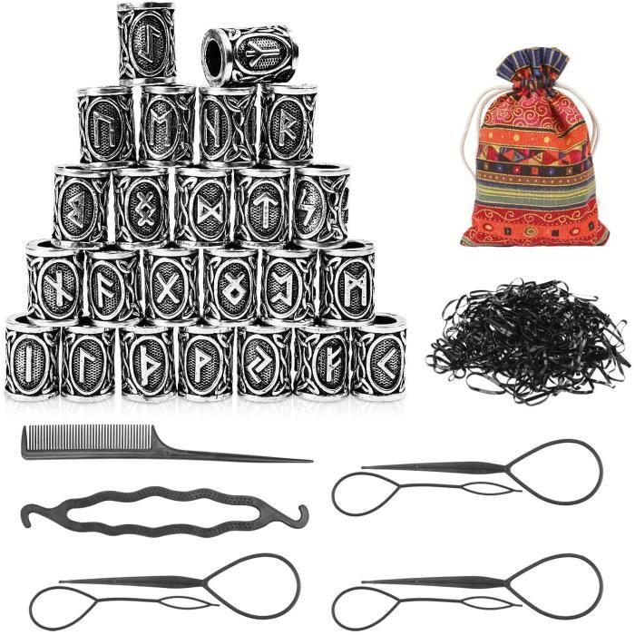 Viking Bijoux, Perles Rune Viking,Nordiques Perles, Kit De Perles Runiques Perles, 24 Perles TresséEs Pour Cheveux Avec Perles A603