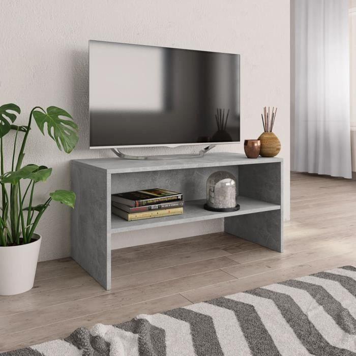 LEUCH Meuble TV Gris cement 80 x 40 x 40 cm Aggloméré 9386398947754