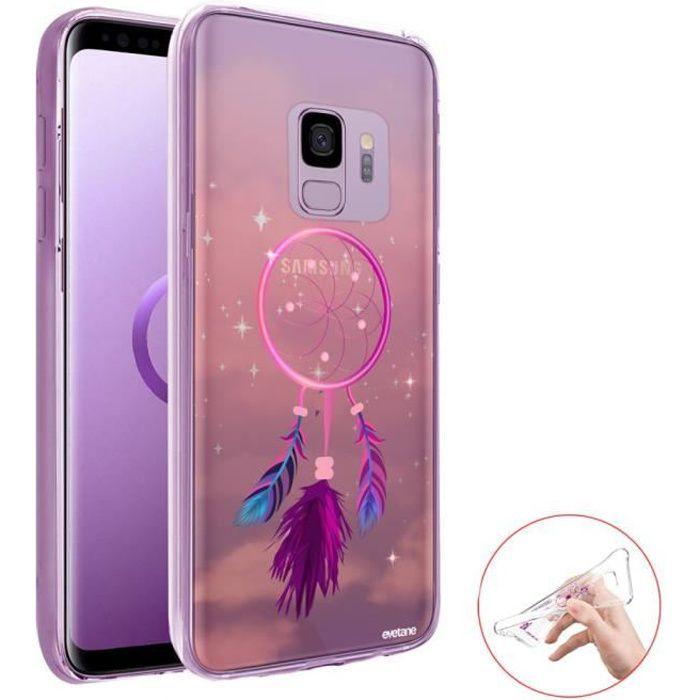 Coque 360 Samsung Galaxy S9 360 intégrale transparente Attrape rêve rose Ecriture Tendance Design Evetane