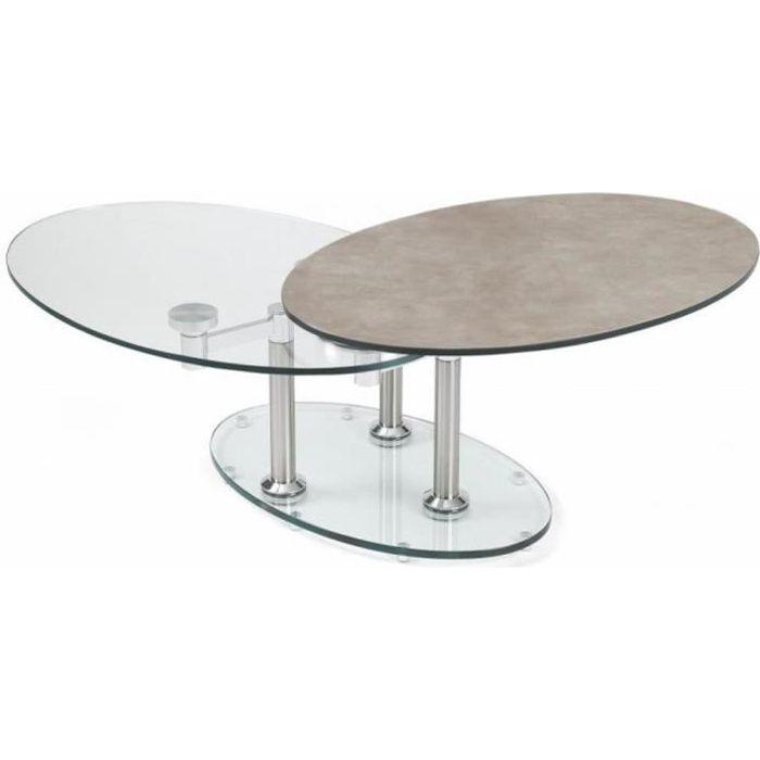 Table basse DOUBLE CÉRAMIQUE GREY couleur gris à plateaux pivotants en verre gris céramique Inside75