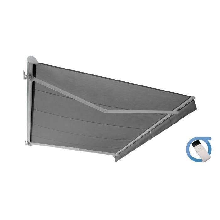 Store banne motorisé semi coffre 4x3 m gris - Structure blanche pur satinée - COVER OMBRAZUR