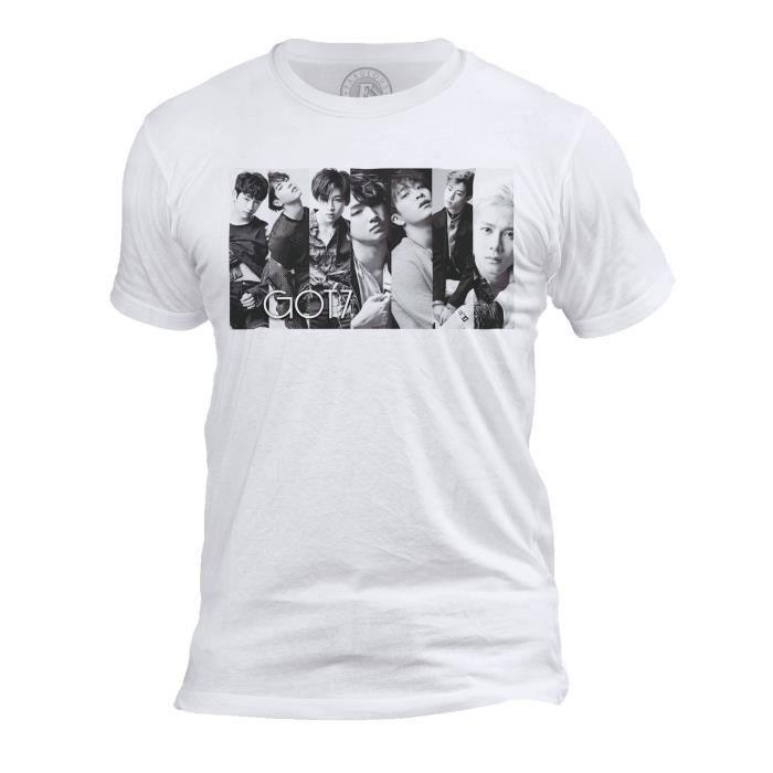 T-shirt Homme Col Rond Got 7 Boys Band Kpop Stars Coree Noir & Blanc