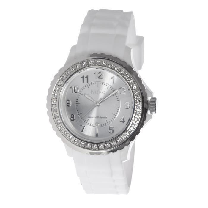 Nuvo - NU159 - Montre Femme - Quartz - Analogique - Bracelet Silicone Blanc - Cadran Blanc - Swarovski elements et diamant