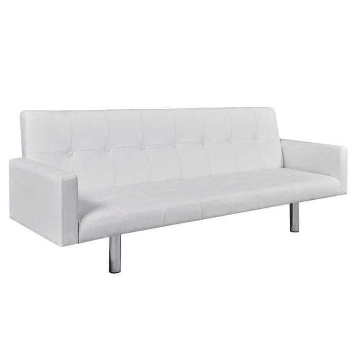 Canapé-lit avec accoudoir Cuir synthétique Blanc Canapé-lit Canapé convertible Canapé d'angle