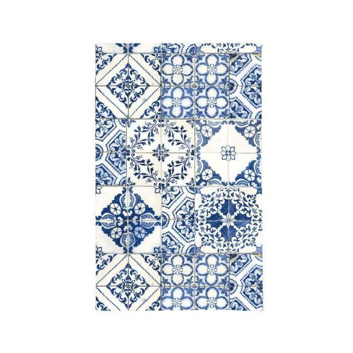 TOODOO - Tapis motifs carreaux de ciment bleu 45x75
