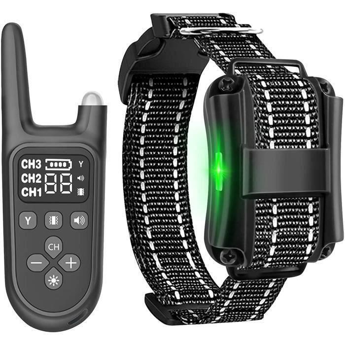 Collier Anti Aboiement pour Chien, Collier de Dressage 800M Télécommande Rechargeable IPX7 Étanche pour Animaux avec Écran LCD