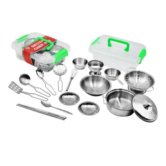 1 ensemble de 17 pièces en acier inoxydable jouets de cuisine ustensiles de pour enfants DOCTOR - NURSE - VETERINARY