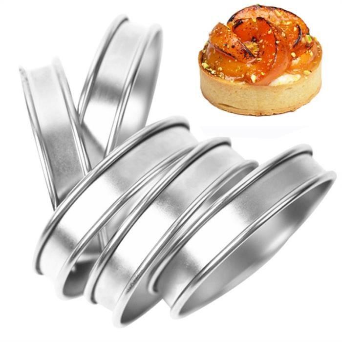 8cm 4pcs -Mini anneau à tarte en acier inoxydable,4-6-8 pièces,moule à tartelettes,coupe cercle,anneau à tarte,anneaux à muffin