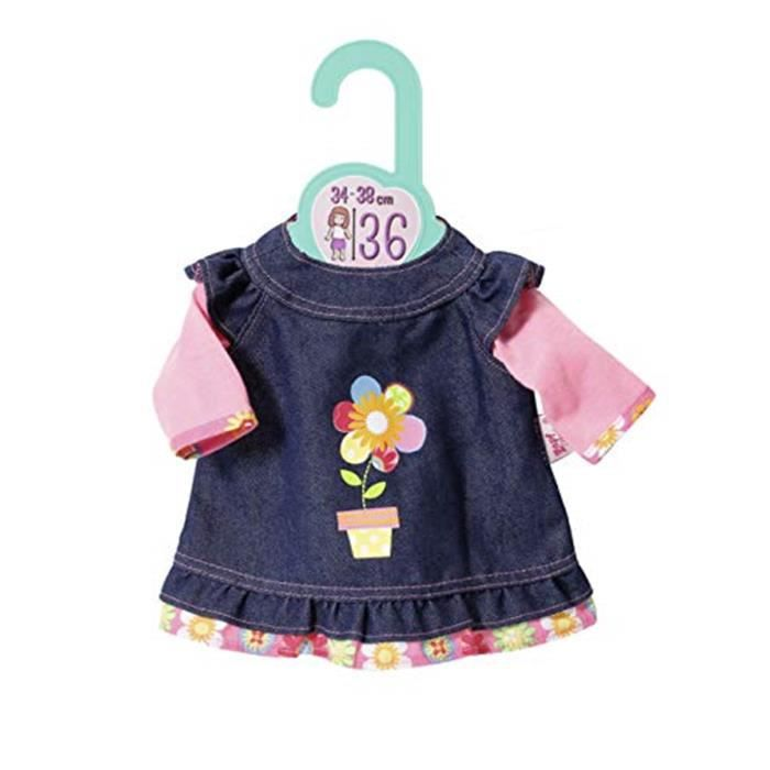 BABY Dolly Moda Robe en jean pour poupée de 36 cm