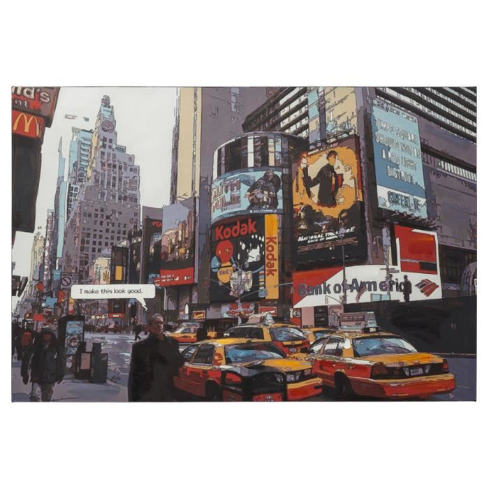 Tableau design 39 busy 39 time square new york sur achat vente ta - Tableau toile new york ...
