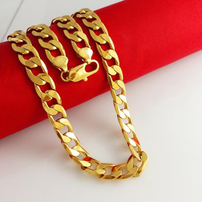 CHAINE DE COU SEULE Collier chaîne en or 10MM or jaune 18 carats plaqu