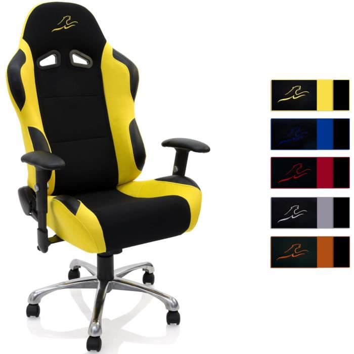 fauteuil chaise de bureau racing noir jaune achat vente chaise de bureau cdiscount. Black Bedroom Furniture Sets. Home Design Ideas