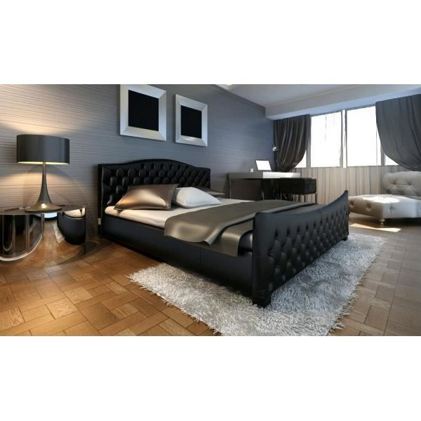 lit double sommier lit double design blanc italien 140 cm. Black Bedroom Furniture Sets. Home Design Ideas