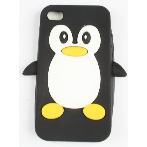 coque iphone 4 4s noir pingouin silicone achat coque. Black Bedroom Furniture Sets. Home Design Ideas
