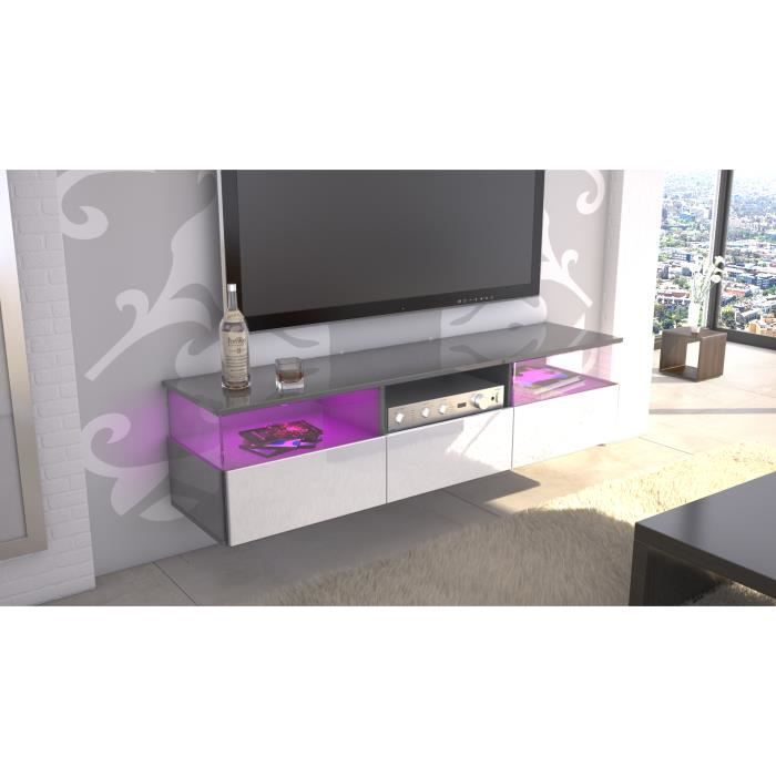 meuble tv gris et blanc 146 cm laqu achat vente meuble tv meuble tv gris et blanc 1. Black Bedroom Furniture Sets. Home Design Ideas