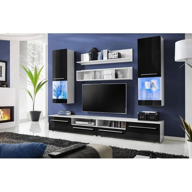 meuble tv design laqu noir avec led bahia achat vente meuble tv meuble tv design laqu. Black Bedroom Furniture Sets. Home Design Ideas
