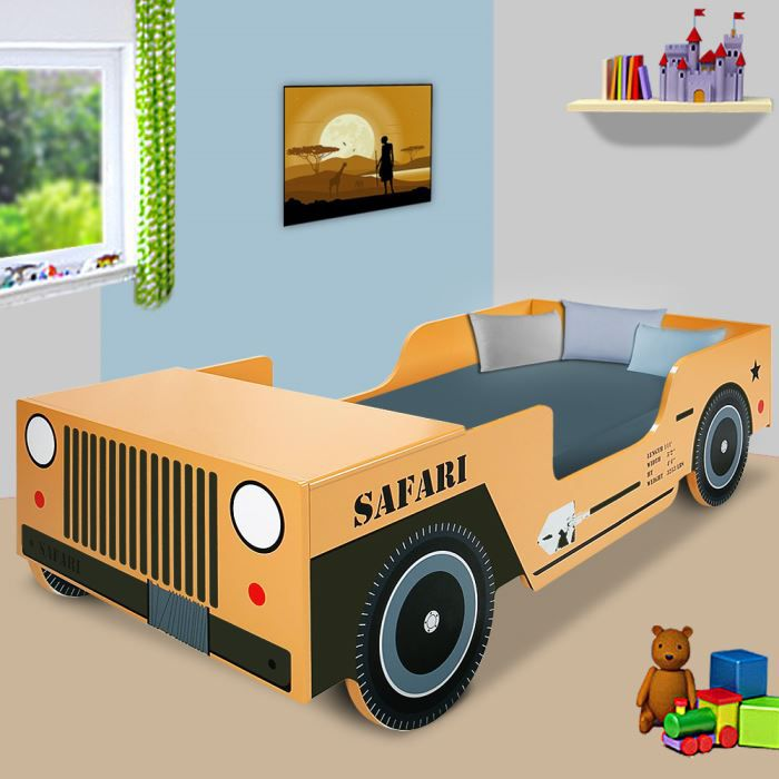 lit enfant auto jeep safari sommier matelas 200 90 achat vente lit complet lit enfant auto. Black Bedroom Furniture Sets. Home Design Ideas