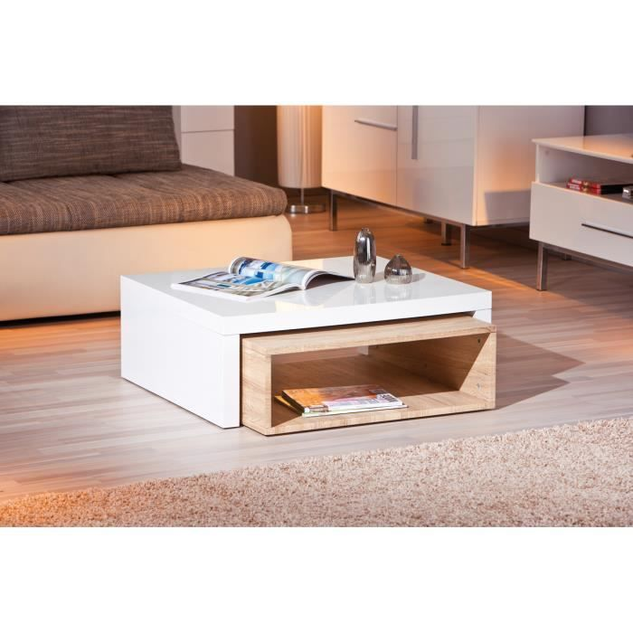 table basse gigogne rectangulaire bois et blanc laqu achat vente table basse table basse. Black Bedroom Furniture Sets. Home Design Ideas
