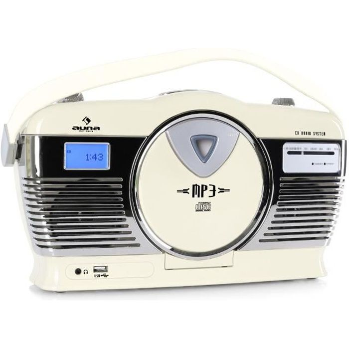 auna mcp 69 poste radio vintage avec lecteur cd et port usb pour mp3 poign e utilisation sur. Black Bedroom Furniture Sets. Home Design Ideas
