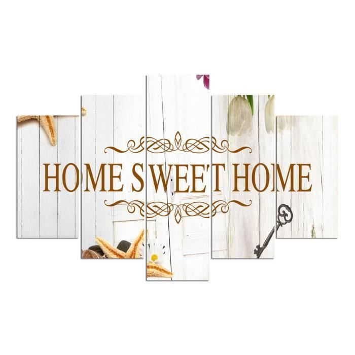 Tableau d co multi panneaux 100x150 home sweet home blanc for Home sweet home arredamento
