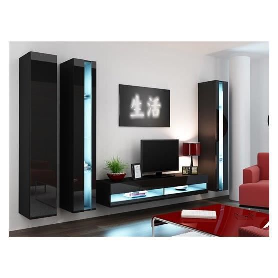 ensemble meuble tv mural alarmo noir achat vente meuble tv meuble tv alarmo nr cdiscount. Black Bedroom Furniture Sets. Home Design Ideas