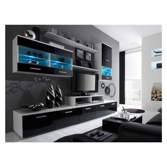 meuble tv design logi noir et blanc 2 achat vente meuble tv meuble tv design logi nr bl2. Black Bedroom Furniture Sets. Home Design Ideas