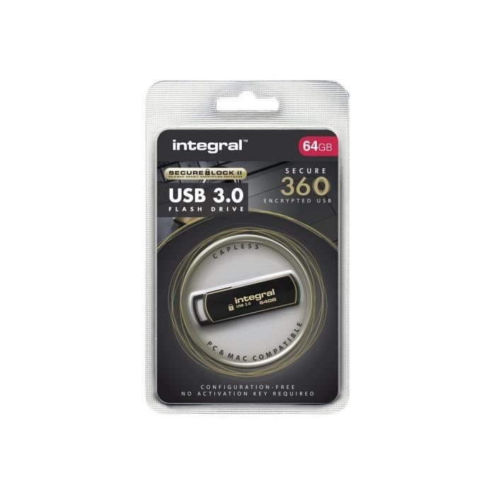 DISQUE DUR SSD Integral Secure 360 - Clé USB - 64 Go - USB 3.0 -