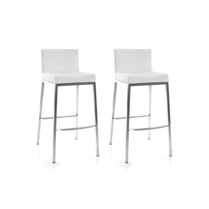 miliboo lot de 2 tabourets design blanc epsilon achat vente tabouret de bar polyur thane. Black Bedroom Furniture Sets. Home Design Ideas