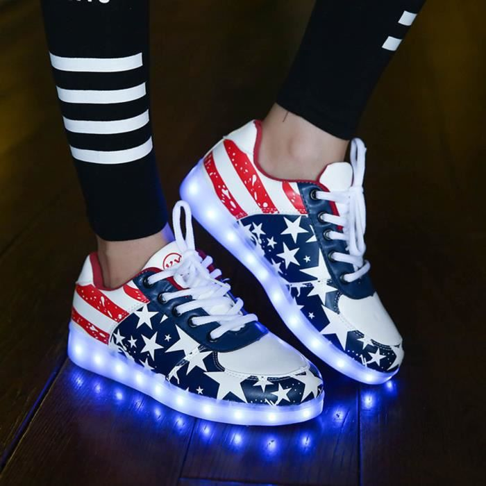 Chaussures Hommes Lumineuses up Usb Couleurs Lovers 7 Charge De Light Fashion Sneakers Femmes Led AqntXPxa