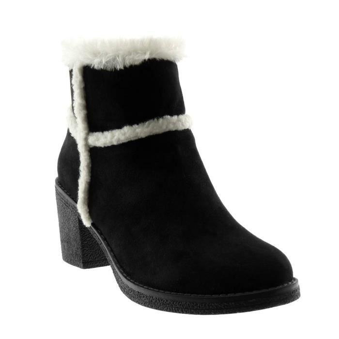 Fourrée CM Noir haut T femme de Intérieur 41 Bottine neige Chaussure bloc AF801 fourrure Talon 7 Angkorly bottes Mode hQrCdst