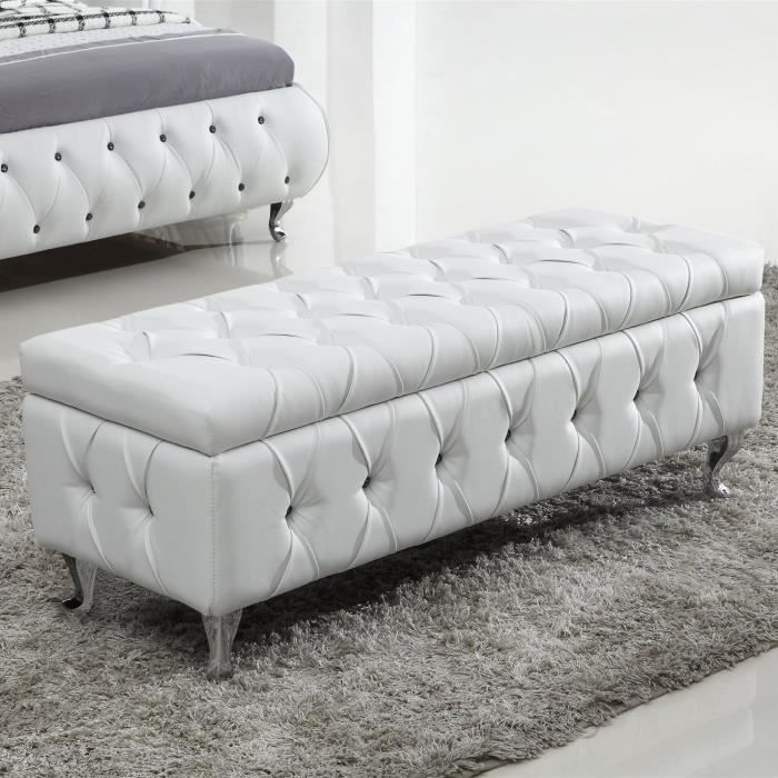 banc banquette similicuir blanc avec rangemen achat. Black Bedroom Furniture Sets. Home Design Ideas