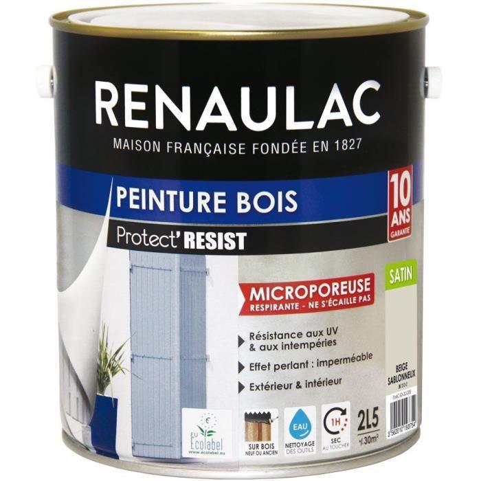 Renaulac Peinture Bois Beige Sablonneux Garantie 10 Ans 2 5l 30m Pôt