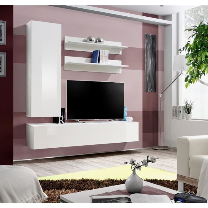 meuble tv fly h1 blanc blanc laqu achat vente meuble tv meuble tv fly h1 blanc bla. Black Bedroom Furniture Sets. Home Design Ideas