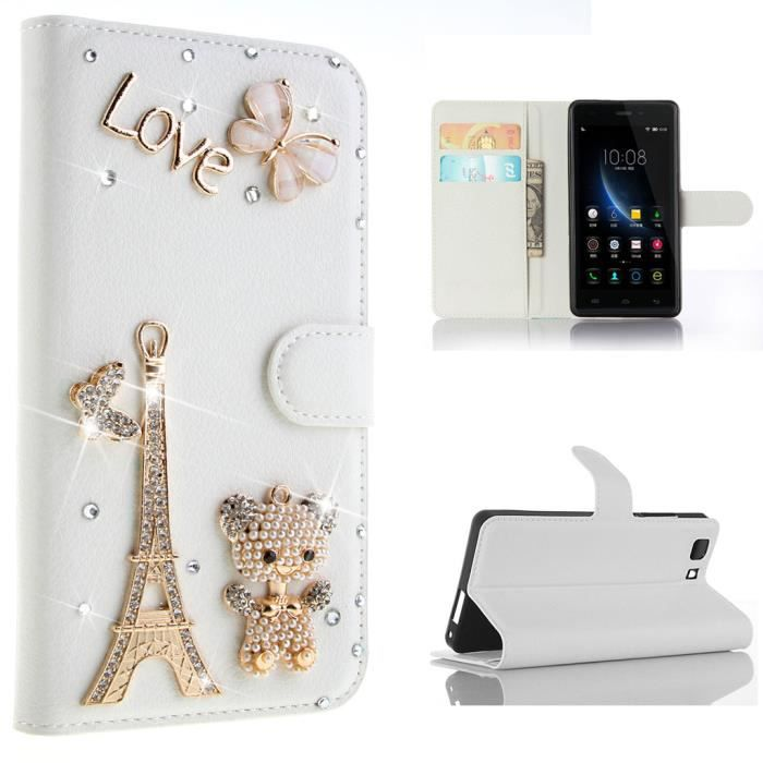 Pour doogee x5 5 0 housse tour eiffel coller forage bling for Housse tour eiffel