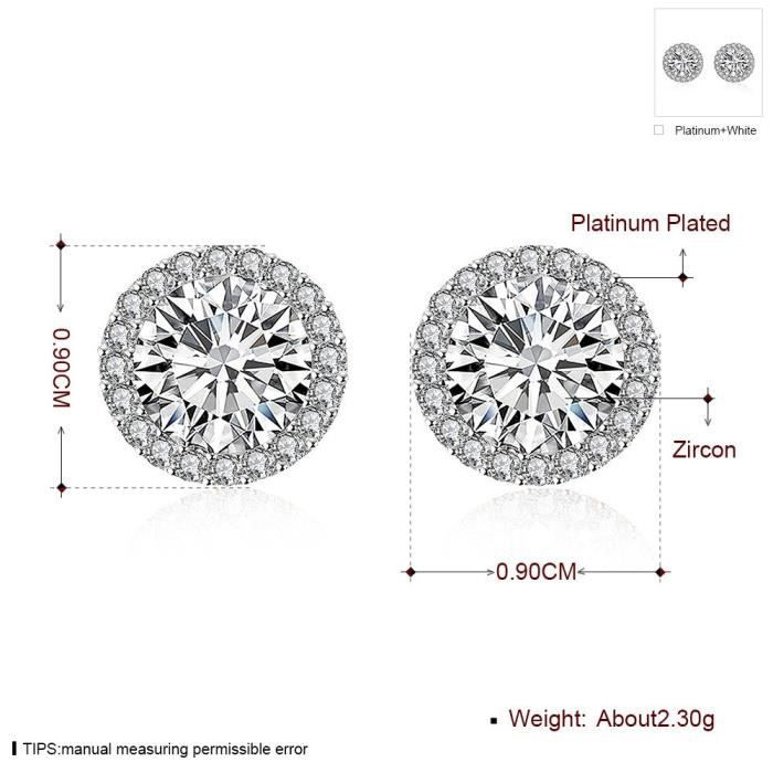 Womens White Gold Plated Round Halo Stud Earrings For Cubic Zirconia Crystal Cz Earring T9OAI