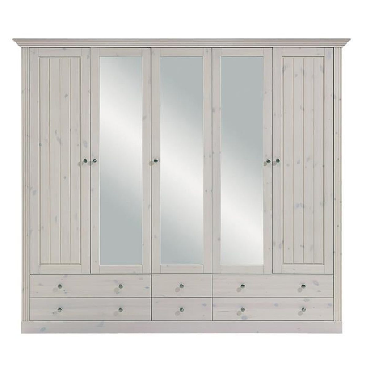 armoire en pin massif coloris blanc dim 201 x 227 x 60. Black Bedroom Furniture Sets. Home Design Ideas