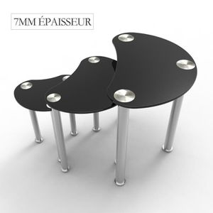 TABLE BASSE UBonheur Table Basse Lot de 3 Tables 7mm Epaisseur