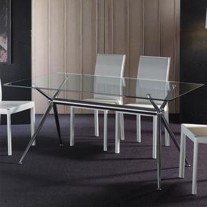 TABLE À MANGER SEULE Table à manger en verre MARINA  140 cm