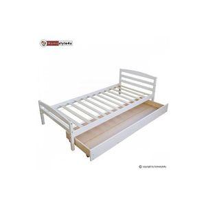 LIT COMBINE  Lit Simple Blanc 90x200 avec pied de lit et tiroir