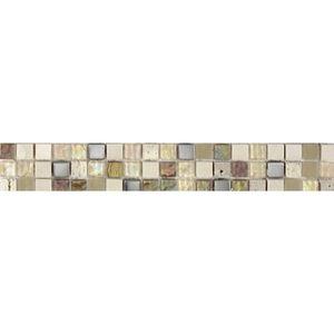 CARRELAGE - PAREMENT Listel en pate de verre et pierre naturelle -5 x 3